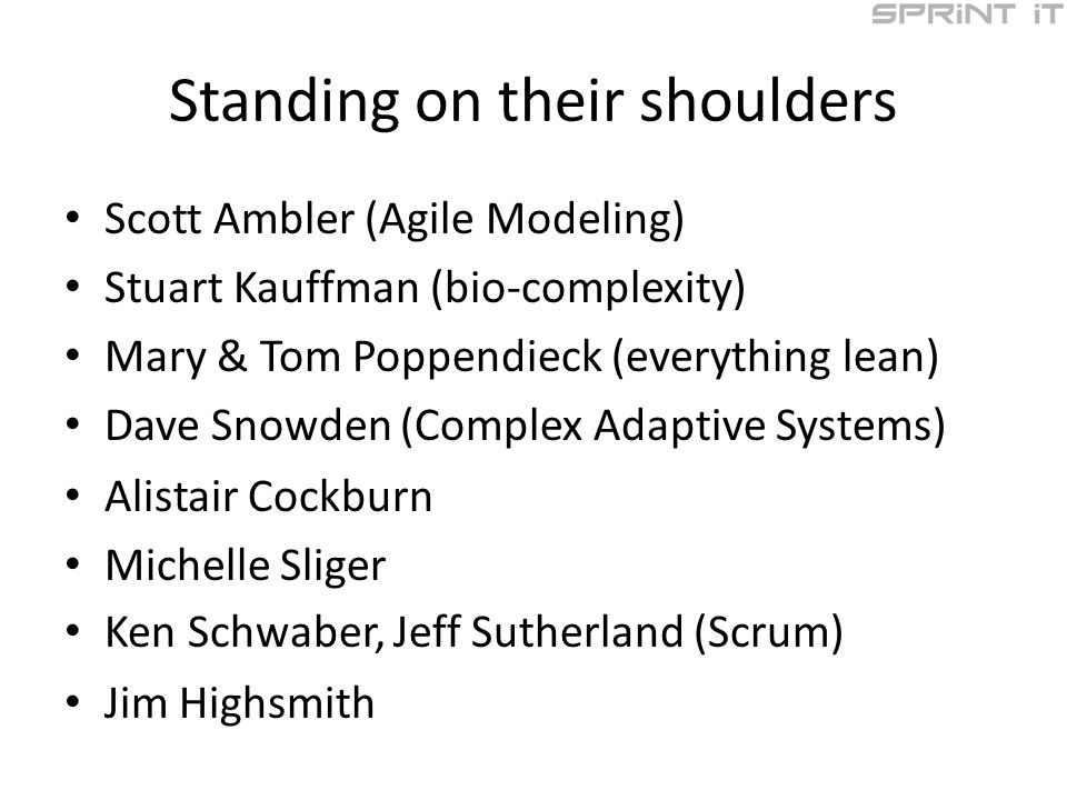 Standing on their shoulders Scott Ambler (Agile Modeling) Stuart Kauffman (bio-complexity) Mary & Tom Poppendieck (everything lean) Dave Snowden (Comp
