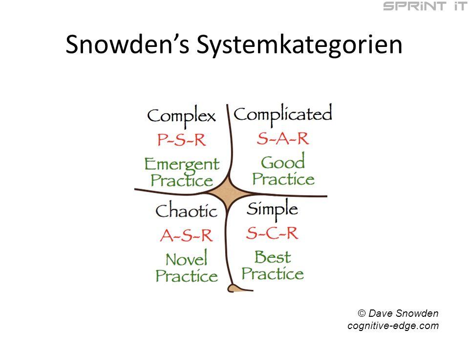 Snowdens Systemkategorien © Dave Snowden cognitive-edge.com