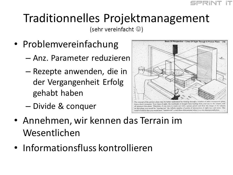 Traditionnelles Projektmanagement (sehr vereinfacht ) Problemvereinfachung – Anz.