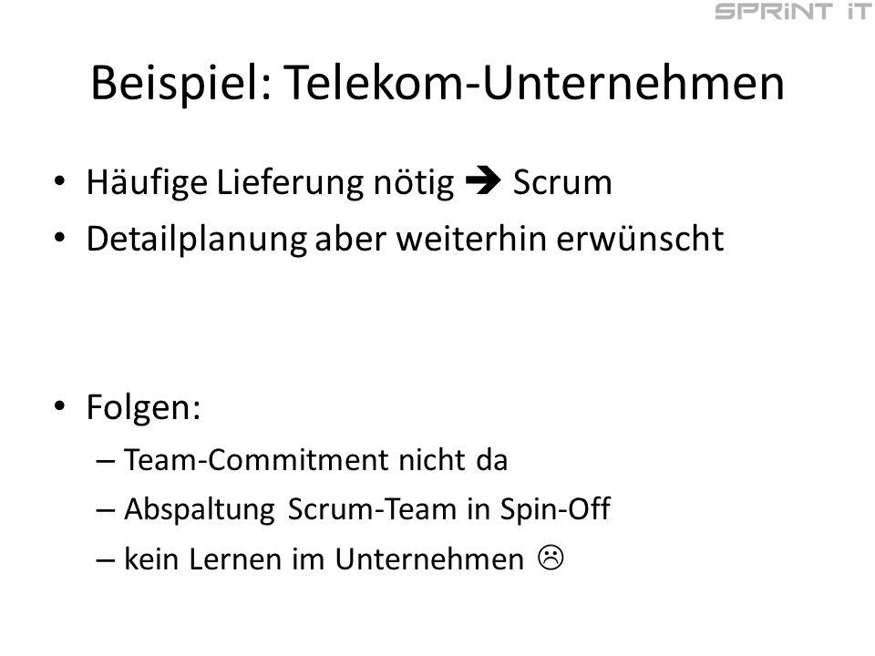 Beispiel: Telekom-Unternehmen Häufige Lieferung nötig Scrum Detailplanung aber weiterhin erwünscht Folgen: – Team-Commitment nicht da – Abspaltung Scrum-Team in Spin-Off – kein Lernen im Unternehmen