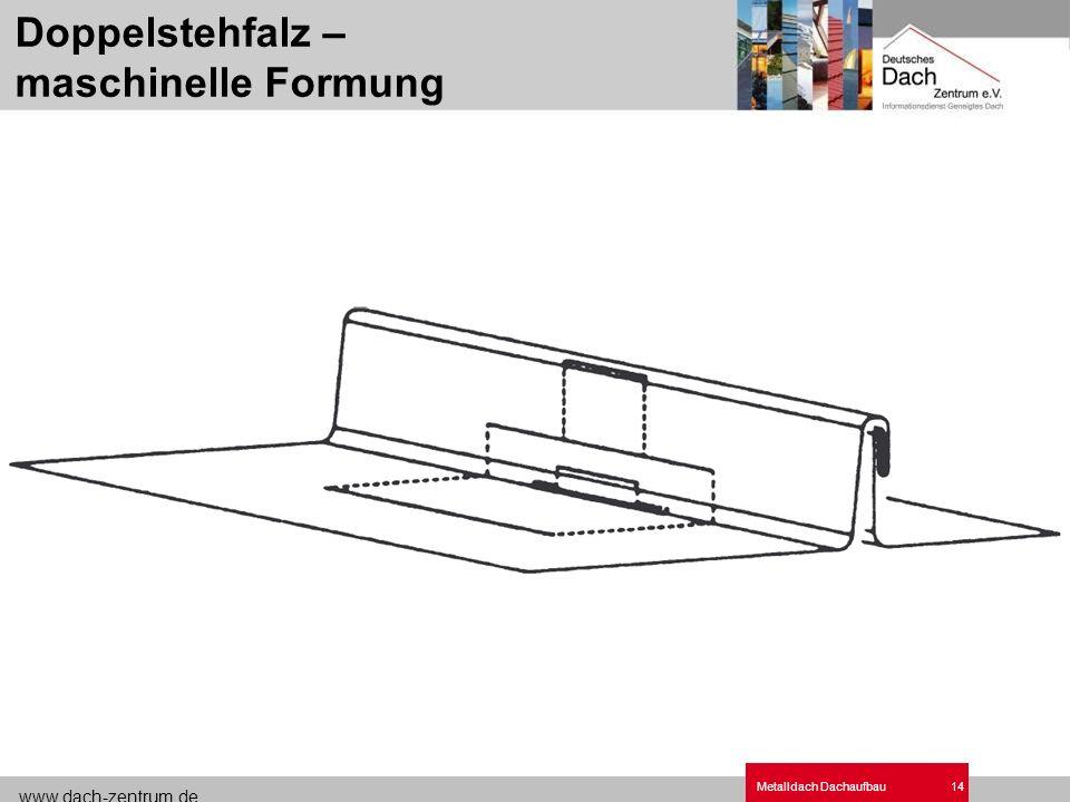 www.dach-zentrum.de Metalldach Dachaufbau14 Doppelstehfalz – maschinelle Formung