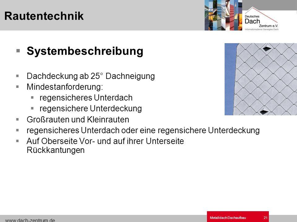 www.dach-zentrum.de Metalldach Dachaufbau21 Systembeschreibung Dachdeckung ab 25° Dachneigung Mindestanforderung: regensicheres Unterdach regensichere
