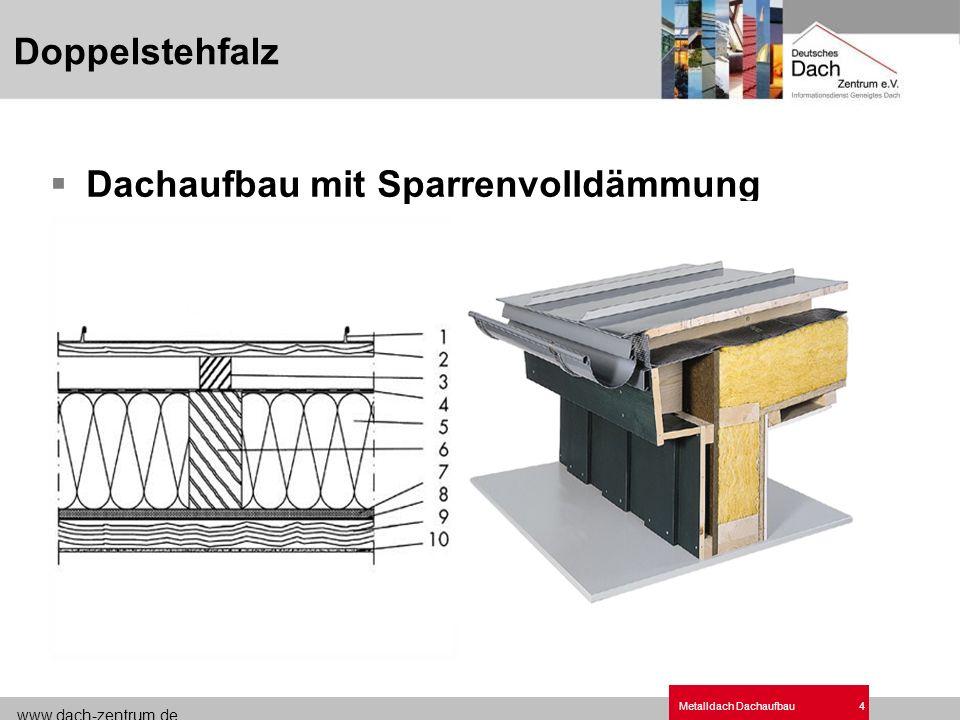 www.dach-zentrum.de Metalldach Dachaufbau5 Dachaufbau ohne Sparrenvolldämmung Dachneigungfreie Höhe Belüftungsraum (mind.) Schlitzbreite (Netto) 3° - 15°8 cm 4 cm > 15°4 cm 3 cm Doppelstehfalz Be- und Entlüftung