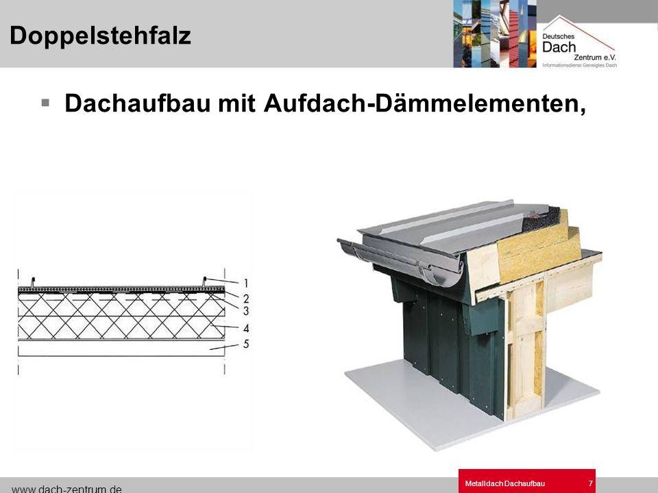 www.dach-zentrum.de Metalldach Dachaufbau18 QUICK STEP ® - Konstruktion 02 QUICK STEP ® - Treppendach