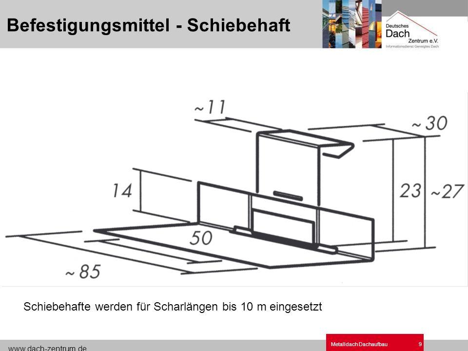 www.dach-zentrum.de Metalldach Dachaufbau9 Befestigungsmittel - Schiebehaft Schiebehafte werden für Scharlängen bis 10 m eingesetzt