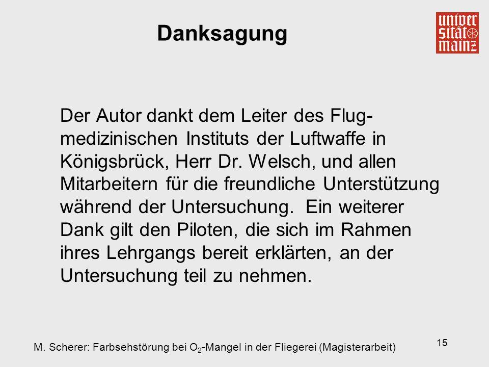 15 Danksagung Der Autor dankt dem Leiter des Flug- medizinischen Instituts der Luftwaffe in Königsbrück, Herr Dr. Welsch, und allen Mitarbeitern für d