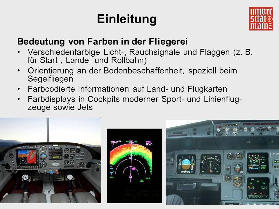 5 Einleitung Bedeutung von Farben in der Fliegerei Verschiedenfarbige Licht-, Rauchsignale und Flaggen (z. B. für Start-, Lande- und Rollbahn) Orienti