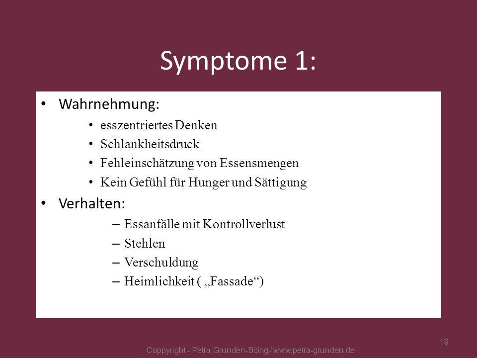 Symptome 1: Wahrnehmung: esszentriertes Denken Schlankheitsdruck Fehleinschätzung von Essensmengen Kein Gefühl für Hunger und Sättigung Verhalten: – E