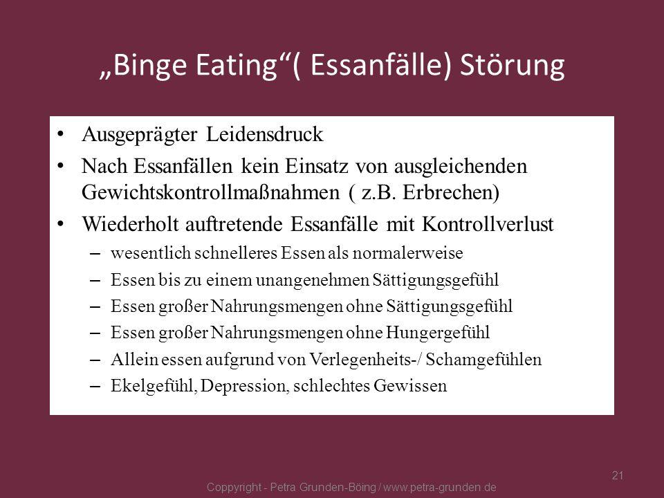 Binge Eating( Essanfälle) Störung Ausgeprägter Leidensdruck Nach Essanfällen kein Einsatz von ausgleichenden Gewichtskontrollmaßnahmen ( z.B. Erbreche