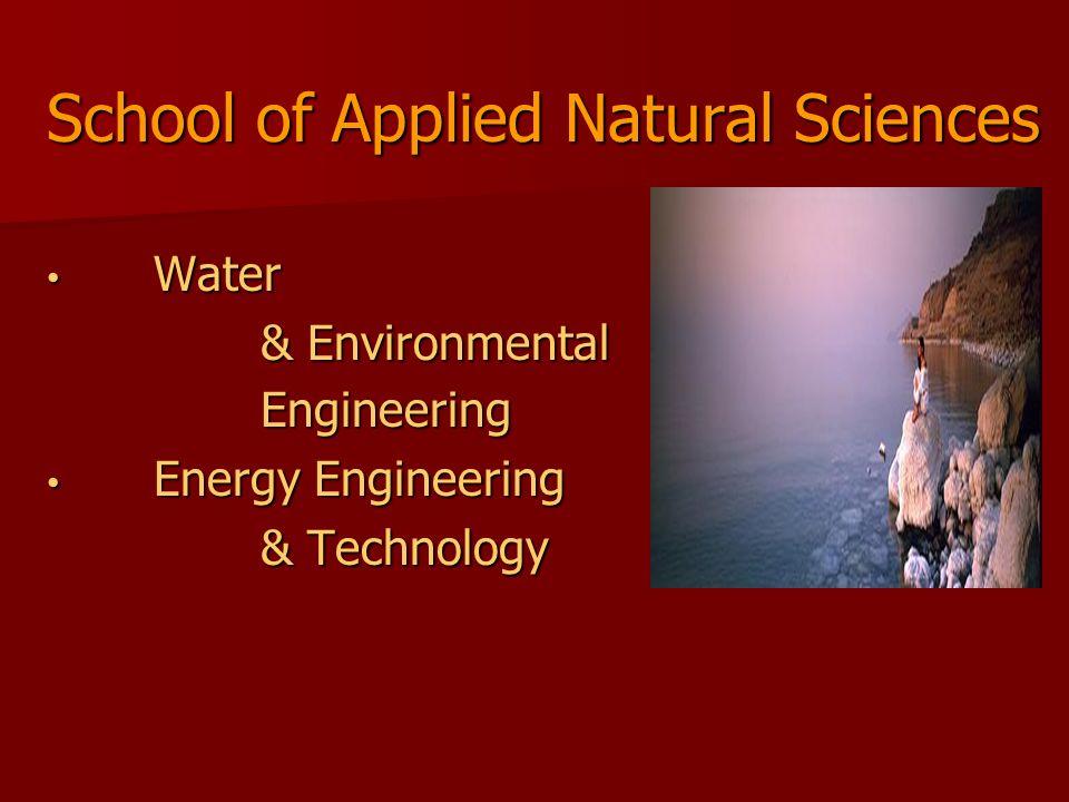 School of Applied Natural Sciences Water Water & Environmental Engineering Energy Engineering Energy Engineering & Technology