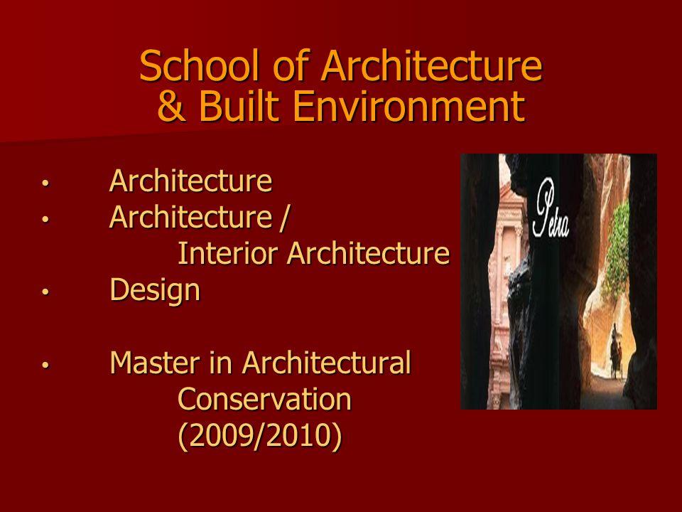 School of Architecture & Built Environment Architecture Architecture Architecture / Architecture / Interior Architecture Design Design Master in Archi