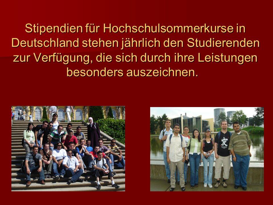 Stipendien für Hochschulsommerkurse in Deutschland stehen jährlich den Studierenden zur Verfügung, die sich durch ihre Leistungen besonders auszeichne