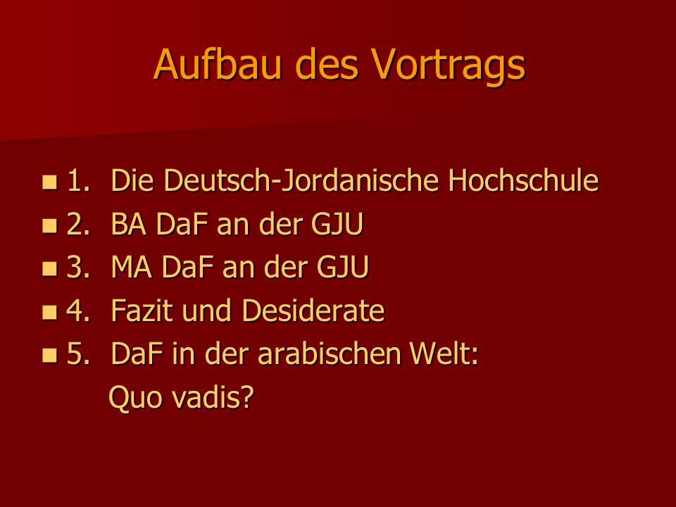 Aufbau des Vortrags 1. Die Deutsch-Jordanische Hochschule 1. Die Deutsch-Jordanische Hochschule 2. BA DaF an der GJU 2. BA DaF an der GJU 3. MA DaF an