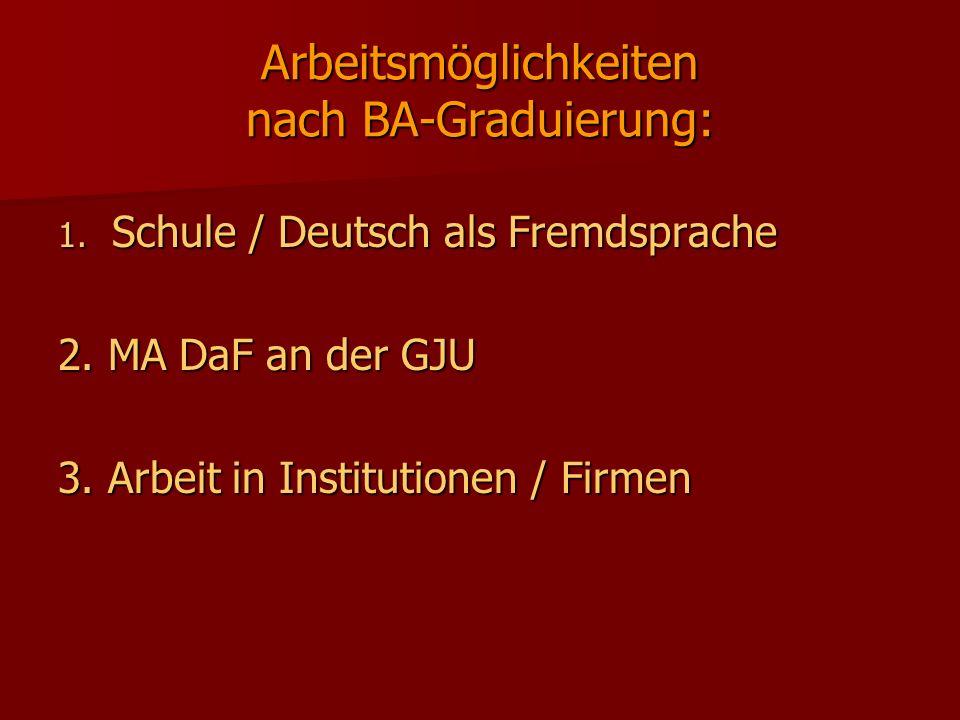 Arbeitsmöglichkeiten nach BA-Graduierung: 1. Schule / Deutsch als Fremdsprache 2. MA DaF an der GJU 3. Arbeit in Institutionen / Firmen