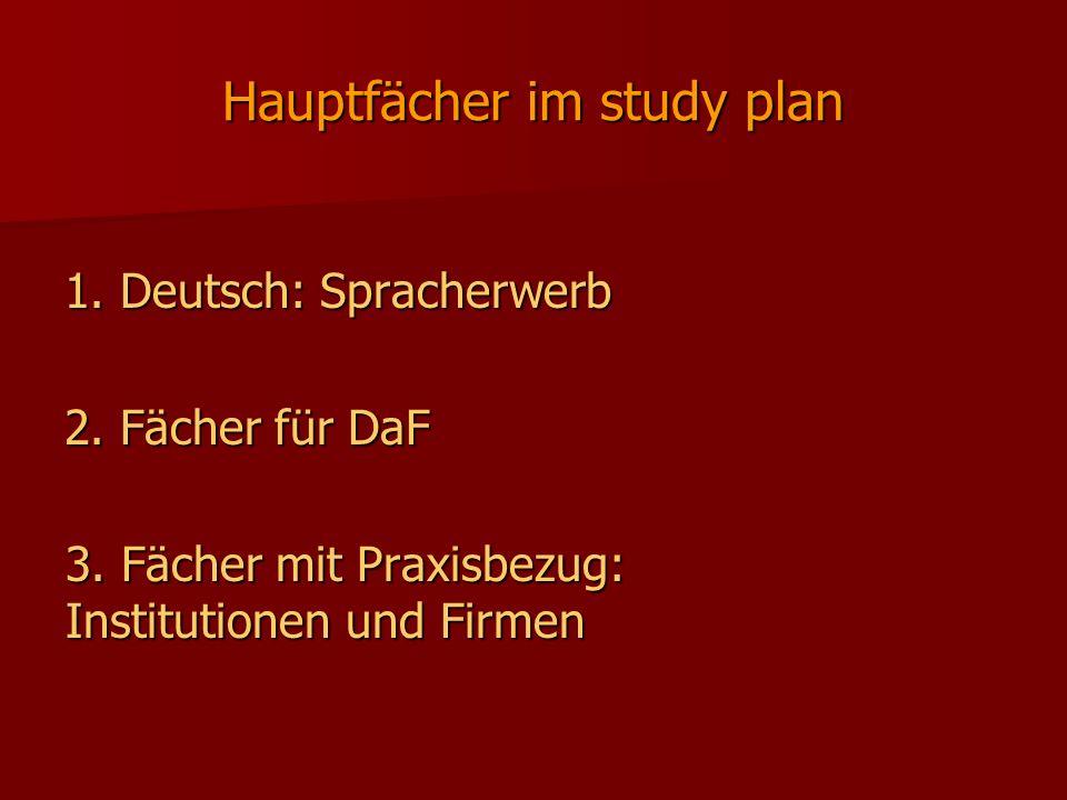 Hauptfächer im study plan 1. Deutsch: Spracherwerb 2. Fächer für DaF 3. Fächer mit Praxisbezug: Institutionen und Firmen