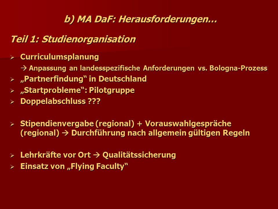 b) MA DaF: Herausforderungen… Teil 1: Studienorganisation Curriculumsplanung Curriculumsplanung Anpassung an landesspezifische Anforderungen vs. Bolog