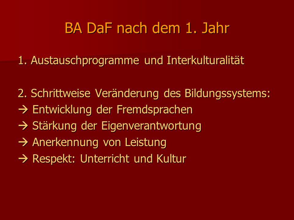BA DaF nach dem 1. Jahr 1. Austauschprogramme und Interkulturalität 2. Schrittweise Veränderung des Bildungssystems: Entwicklung der Fremdsprachen Ent