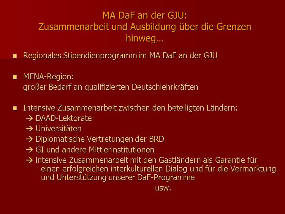 MA DaF an der GJU: Zusammenarbeit und Ausbildung über die Grenzen hinweg… Regionales Stipendienprogramm im MA DaF an der GJU Regionales Stipendienprog