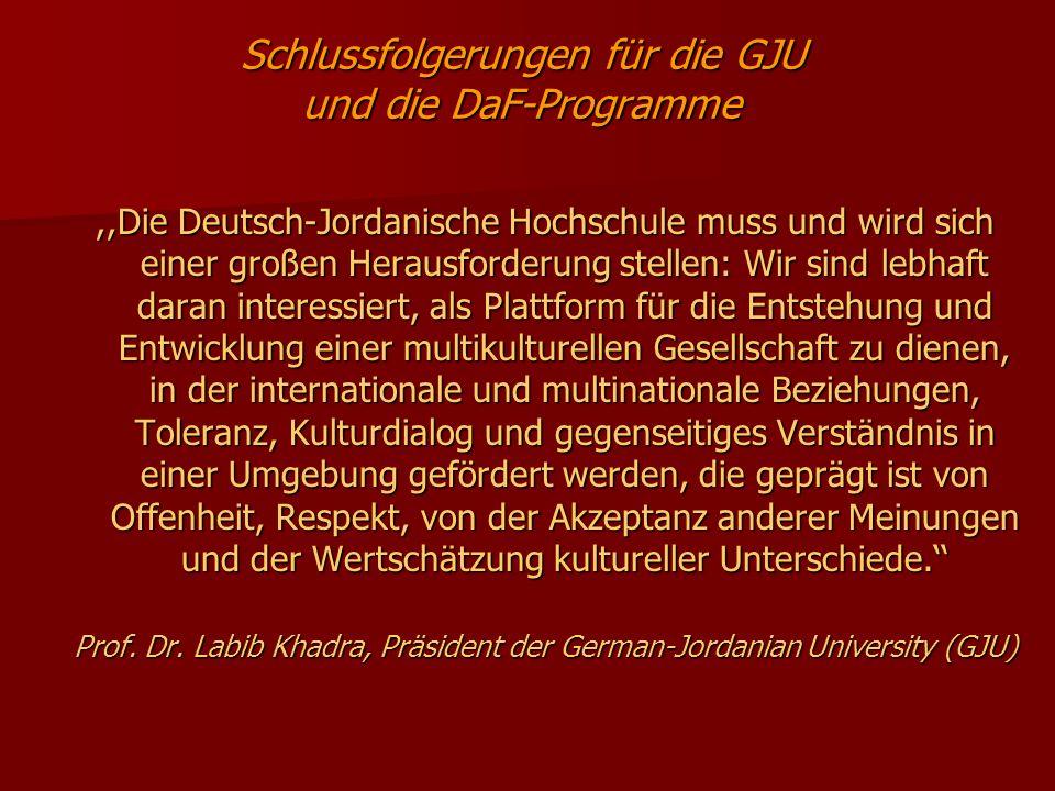 Schlussfolgerungen für die GJU und die DaF-Programme,,Die Deutsch-Jordanische Hochschule muss und wird sich einer großen Herausforderung stellen: Wir