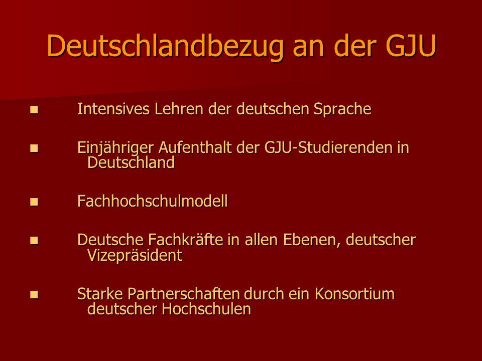 Deutschlandbezug an der GJU Intensives Lehren der deutschen Sprache Intensives Lehren der deutschen Sprache Einjähriger Aufenthalt der GJU-Studierende
