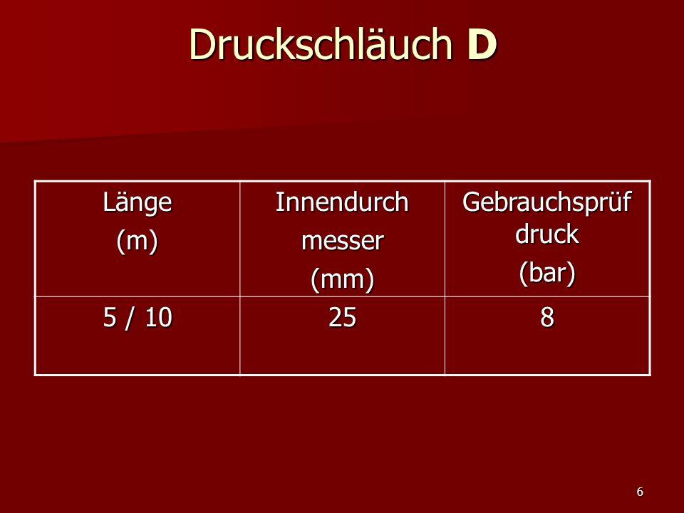 6 Druckschläuch D Länge(m)Innendurchmesser(mm) Gebrauchsprüf druck (bar) 5 / 10 258