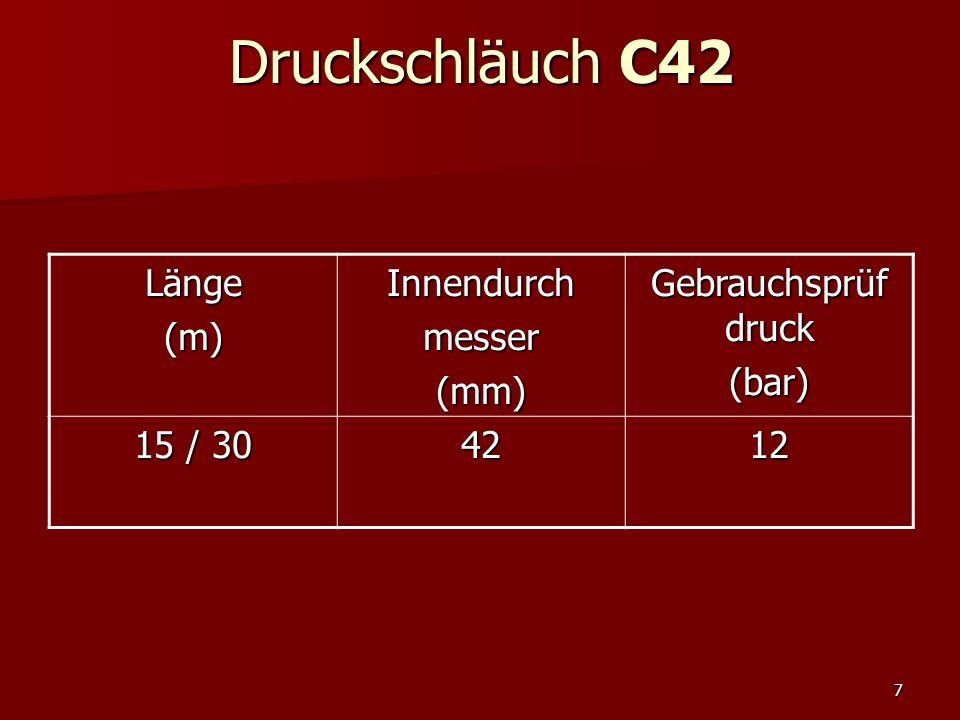 8 Druckschläuch C52 Länge(m)Innendurchmesser(mm) Gebrauchsprüf druck (bar) 155212