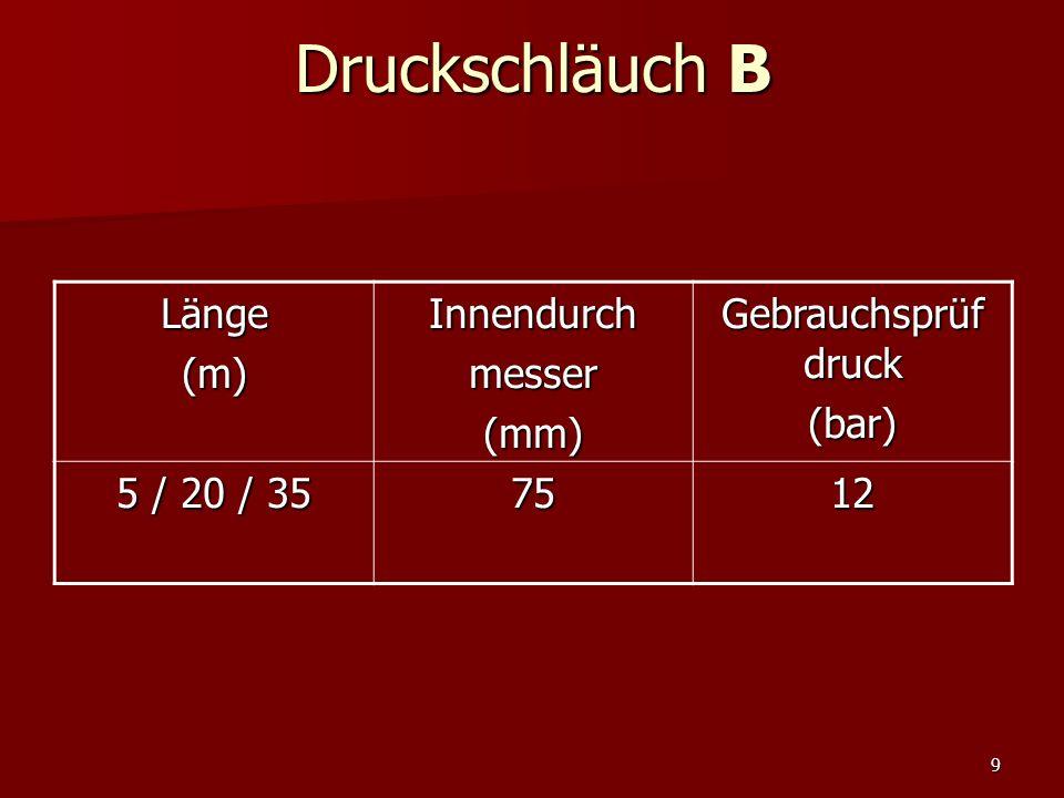 9 Druckschläuch B Länge(m)Innendurchmesser(mm) Gebrauchsprüf druck (bar) 5 / 20 / 35 7512