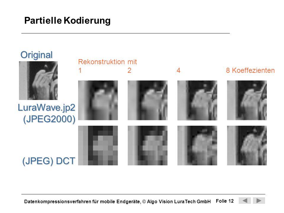 Datenkompressionsverfahren für mobile Endgeräte, © Algo Vision LuraTech GmbH Folie 12 Partielle Kodierung Original LuraWave.jp2(JPEG2000) Rekonstrukti