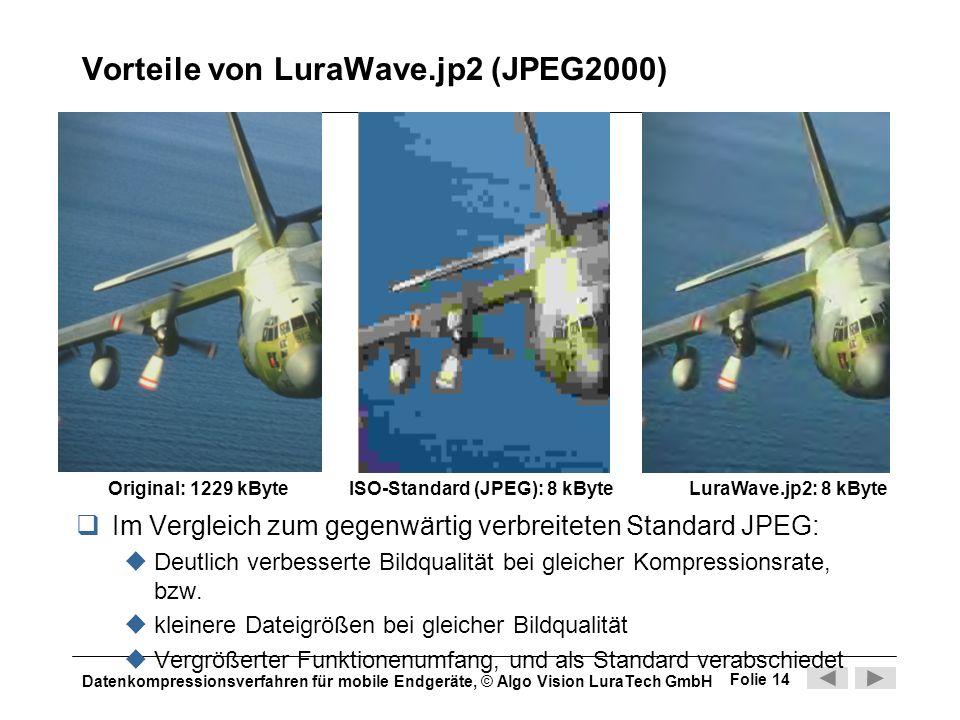 Datenkompressionsverfahren für mobile Endgeräte, © Algo Vision LuraTech GmbH Folie 14 Vorteile von LuraWave.jp2 (JPEG2000) Im Vergleich zum gegenwärti