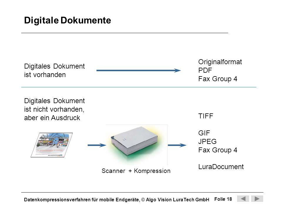 Datenkompressionsverfahren für mobile Endgeräte, © Algo Vision LuraTech GmbH Folie 18 Digitale Dokumente Digitales Dokument ist vorhanden Originalform
