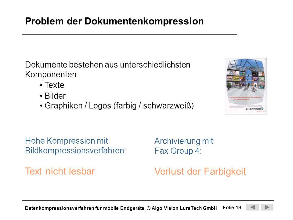 Datenkompressionsverfahren für mobile Endgeräte, © Algo Vision LuraTech GmbH Folie 19 Problem der Dokumentenkompression Dokumente bestehen aus untersc