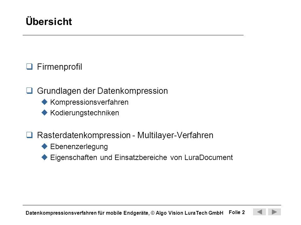 Datenkompressionsverfahren für mobile Endgeräte, © Algo Vision LuraTech GmbH Folie 2 Übersicht Firmenprofil Grundlagen der Datenkompression Kompressio