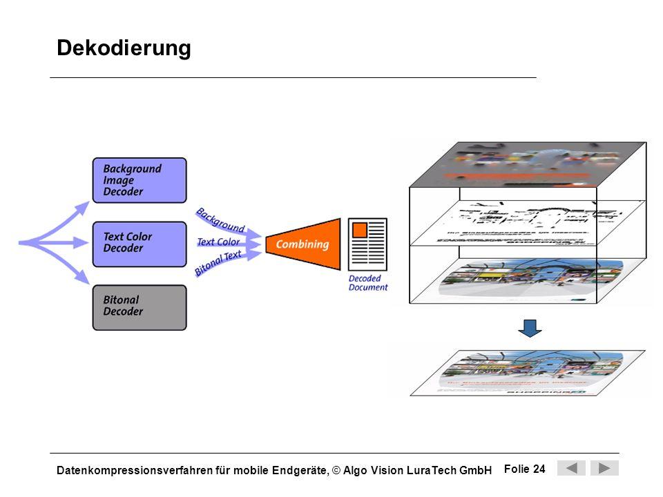 Datenkompressionsverfahren für mobile Endgeräte, © Algo Vision LuraTech GmbH Folie 24 Dekodierung