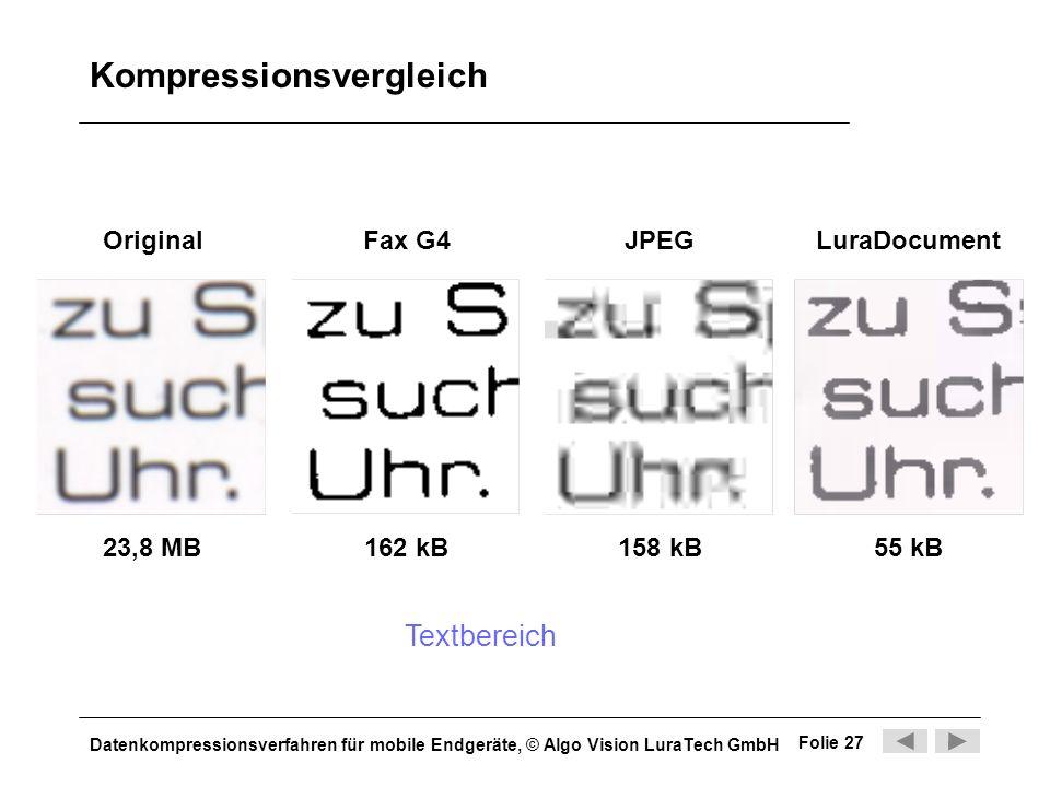 Datenkompressionsverfahren für mobile Endgeräte, © Algo Vision LuraTech GmbH Folie 27 Kompressionsvergleich Original 55 kB158 kB162 kB Fax G4 LuraDocu
