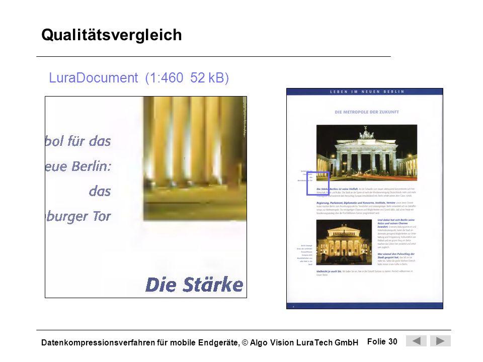 Datenkompressionsverfahren für mobile Endgeräte, © Algo Vision LuraTech GmbH Folie 30 Qualitätsvergleich LuraDocument (1:460 52 kB)