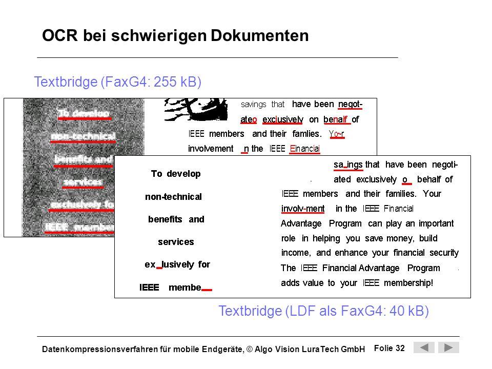 Datenkompressionsverfahren für mobile Endgeräte, © Algo Vision LuraTech GmbH Folie 32 OCR bei schwierigen Dokumenten Textbridge (FaxG4: 255 kB) Textbr