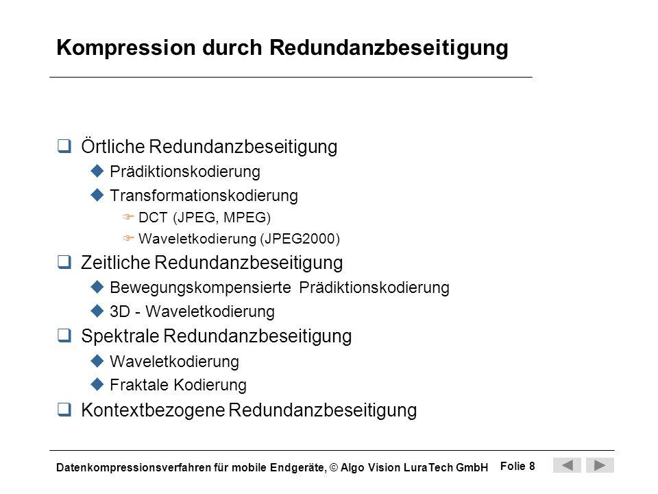 Datenkompressionsverfahren für mobile Endgeräte, © Algo Vision LuraTech GmbH Folie 8 Kompression durch Redundanzbeseitigung Örtliche Redundanzbeseitig