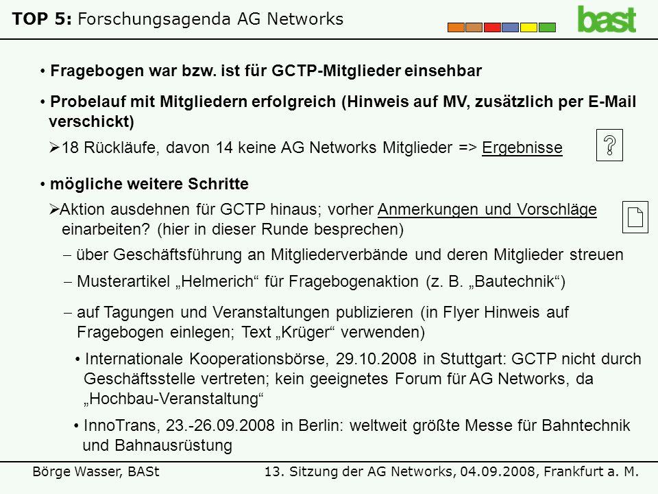 13. Sitzung der AG Networks, 04.09.2008, Frankfurt a. M.Börge Wasser, BASt TOP 5:Forschungsagenda AG Networks Fragebogen war bzw. ist für GCTP-Mitglie