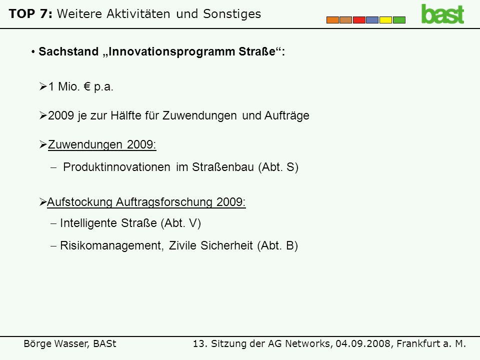 13. Sitzung der AG Networks, 04.09.2008, Frankfurt a. M.Börge Wasser, BASt TOP 7:Weitere Aktivitäten und Sonstiges Sachstand Innovationsprogramm Straß