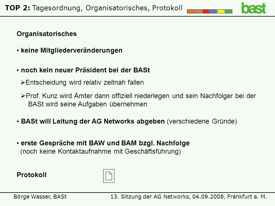 13. Sitzung der AG Networks, 04.09.2008, Frankfurt a. M.Börge Wasser, BASt TOP 2:Tagesordnung, Organisatorisches, Protokoll keine Mitgliederveränderun