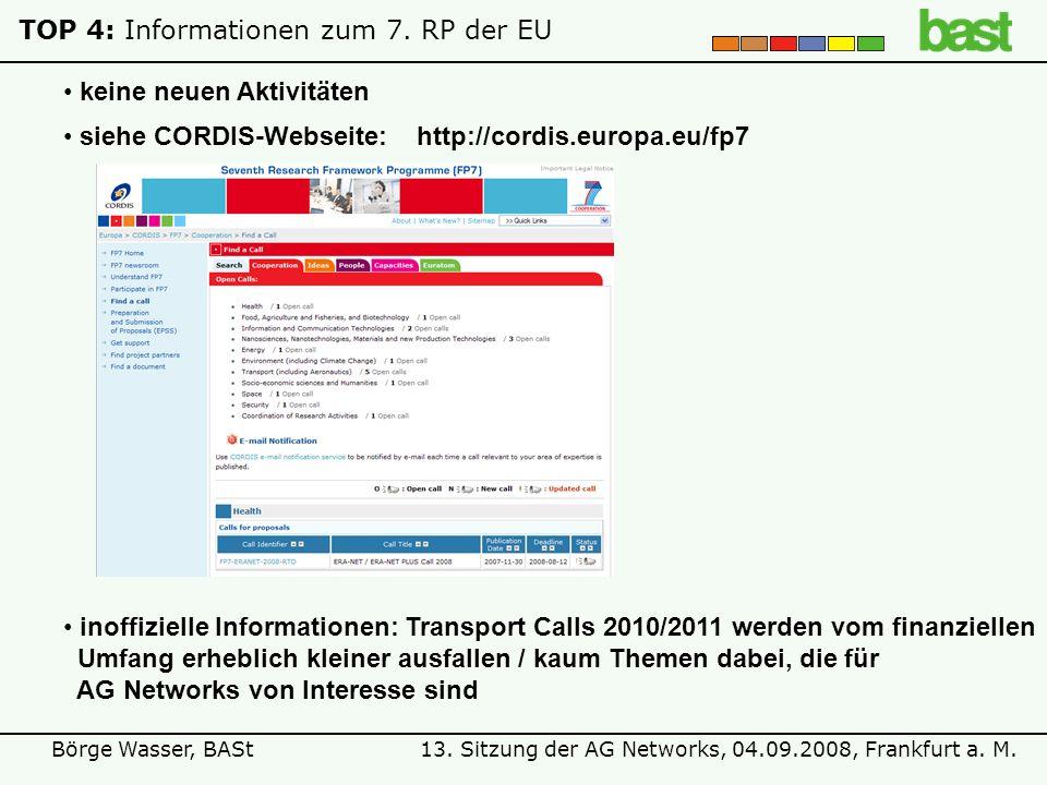 13. Sitzung der AG Networks, 04.09.2008, Frankfurt a. M.Börge Wasser, BASt TOP 4: Informationen zum 7. RP der EU keine neuen Aktivitäten siehe CORDIS-