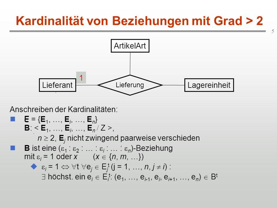 6 (min, max) - Kardinalität (1) Angaben der Kardinalität eines Entity-Typs E in einem Beziehungstyp B als Zahlenpaar (, ) mit 0 : Ein Objekt e (vom Typ E) gehört zu mindestens, maximal Beziehungen des Typs B.