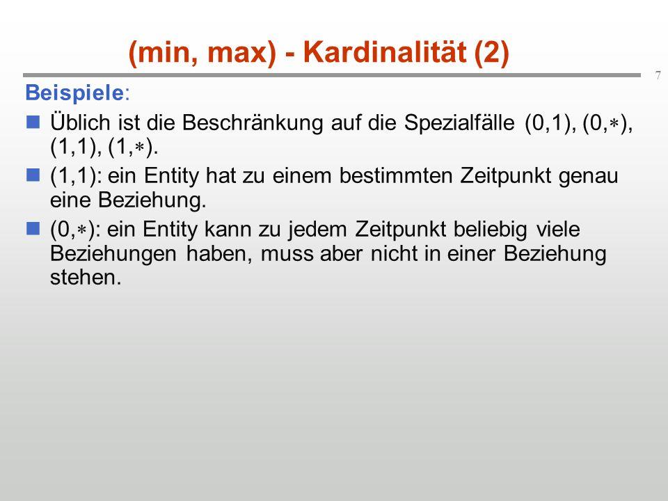 7 (min, max) - Kardinalität (2) Beispiele: Üblich ist die Beschränkung auf die Spezialfälle (0,1), (0, ), (1,1), (1, ). (1,1): ein Entity hat zu einem