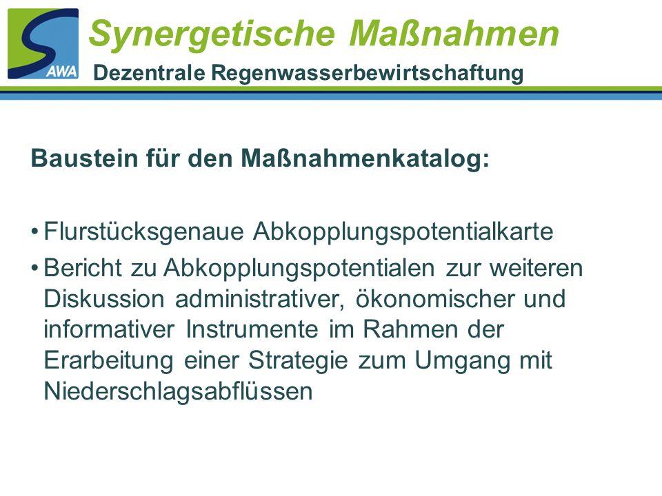 Synergetische Maßnahmen Dezentrale Regenwasserbewirtschaftung Baustein für den Maßnahmenkatalog: Flurstücksgenaue Abkopplungspotentialkarte Bericht zu