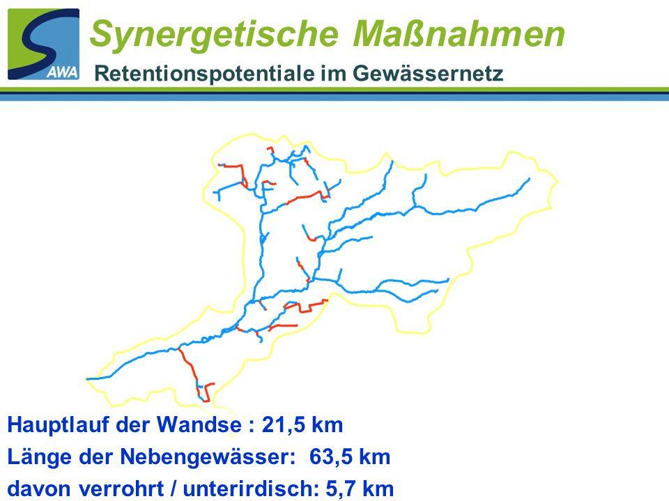 Hauptlauf der Wandse : 21,5 km Länge der Nebengewässer: 63,5 km davon verrohrt / unterirdisch: 5,7 km Synergetische Maßnahmen Retentionspotentiale im