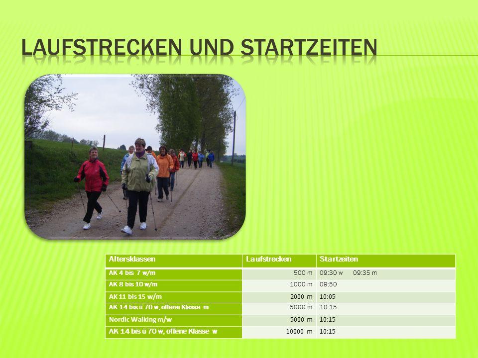 AltersklassenLaufstreckenStartzeiten AK 4 bis 7 w/m500 m09:30 w 09:35 m AK 8 bis 10 w/m1000 m09:50 AK 11 bis 15 w/m2000 m10:05 AK 14 bis ü 70 w, offene Klasse m5000 m10:15 Nordic Walking m/w5000 m10:15 AK 14 bis ü 70 w, offene Klasse w 10000 m10:15