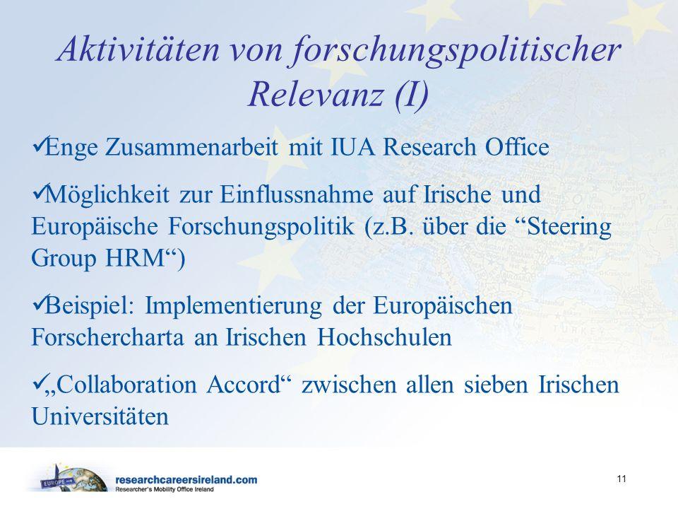 11 Aktivitäten von forschungspolitischer Relevanz (I) Enge Zusammenarbeit mit IUA Research Office Möglichkeit zur Einflussnahme auf Irische und Europä