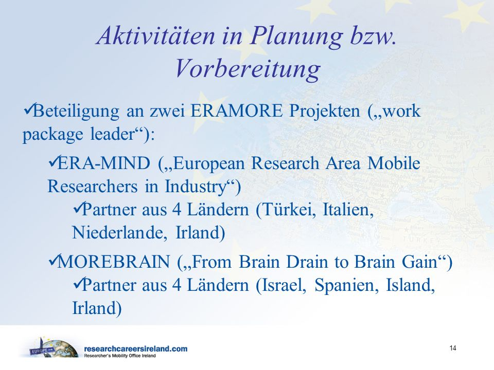 14 Aktivitäten in Planung bzw. Vorbereitung Beteiligung an zwei ERAMORE Projekten (work package leader): ERA-MIND (European Research Area Mobile Resea