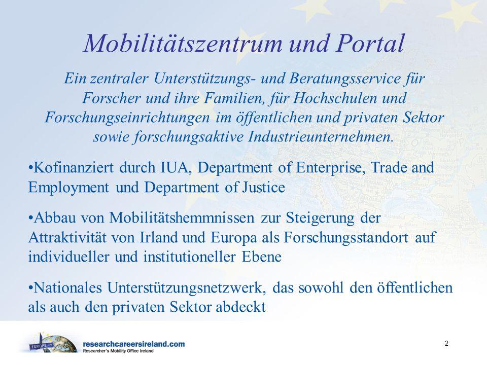2 Mobilitätszentrum und Portal Ein zentraler Unterstützungs- und Beratungsservice für Forscher und ihre Familien, für Hochschulen und Forschungseinric