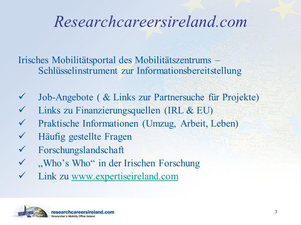 3 Researchcareersireland.com Irisches Mobilitätsportal des Mobilitätszentrums – Schlüsselinstrument zur Informationsbereitstellung Job-Angebote ( & Li